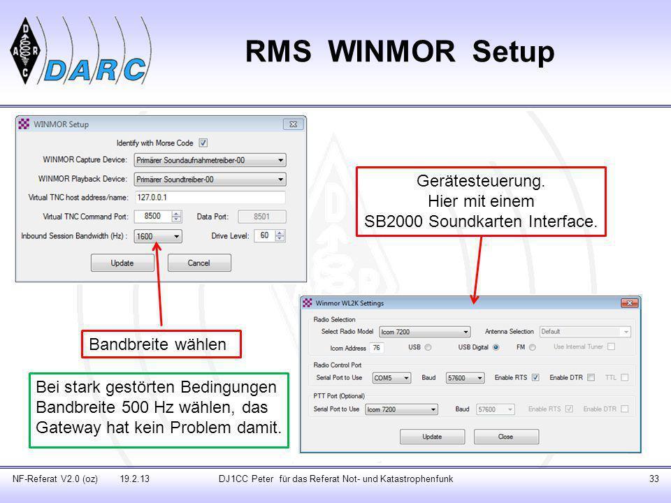 RMS WINMOR Setup Gerätesteuerung. Hier mit einem