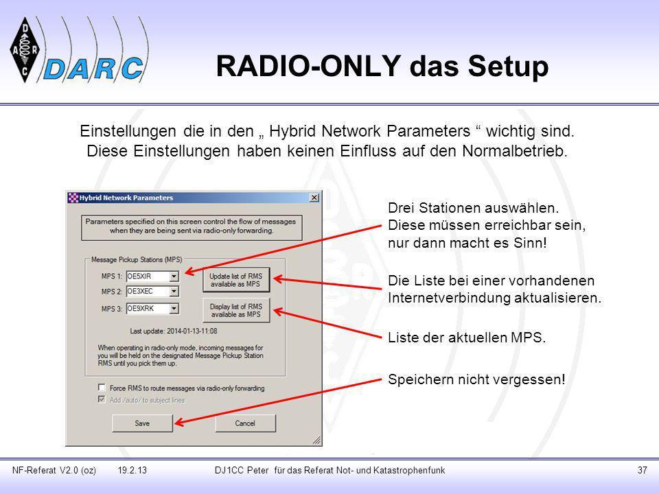 """RADIO-ONLY das Setup Einstellungen die in den """" Hybrid Network Parameters wichtig sind."""
