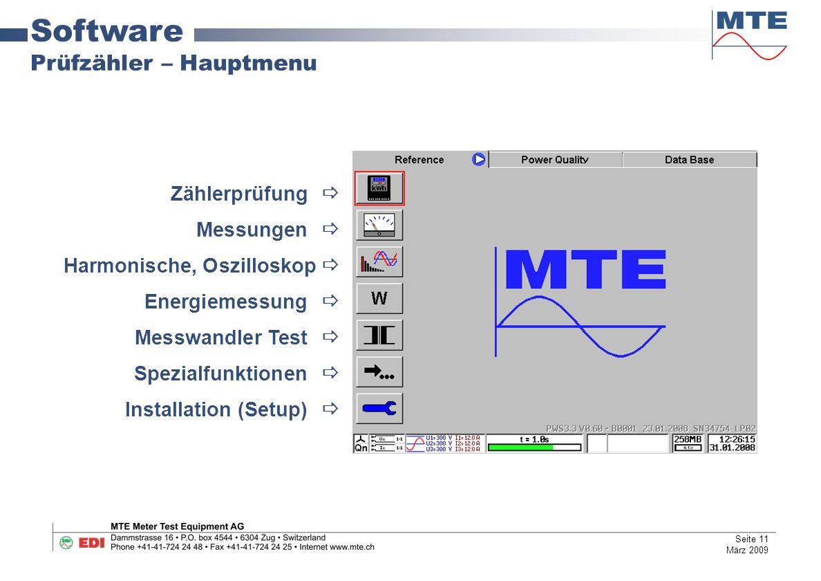 Software Prüfzähler – Hauptmenu Zählerprüfung  Messungen 