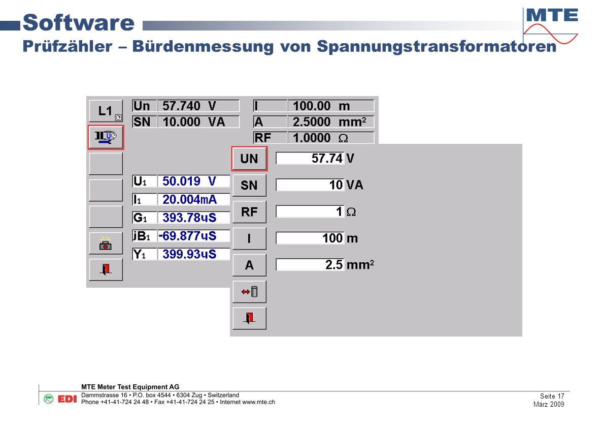 Software Prüfzähler – Bürdenmessung von Spannungstransformatoren
