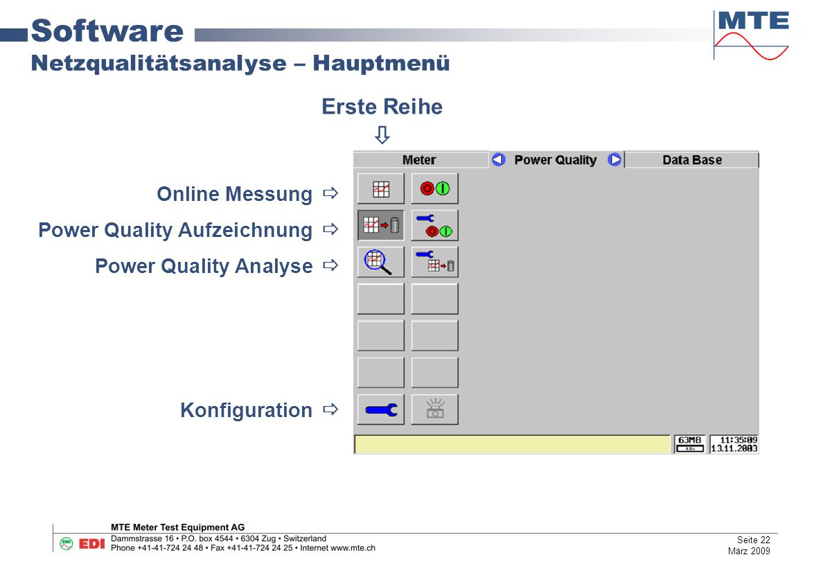 Software Netzqualitätsanalyse – Hauptmenü Erste Reihe 