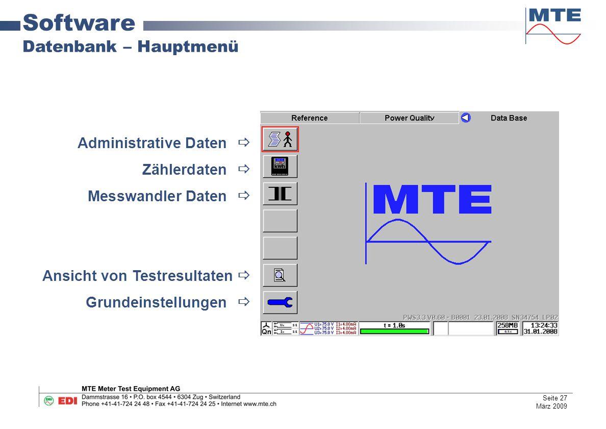 Software Datenbank – Hauptmenü Administrative Daten  Zählerdaten 