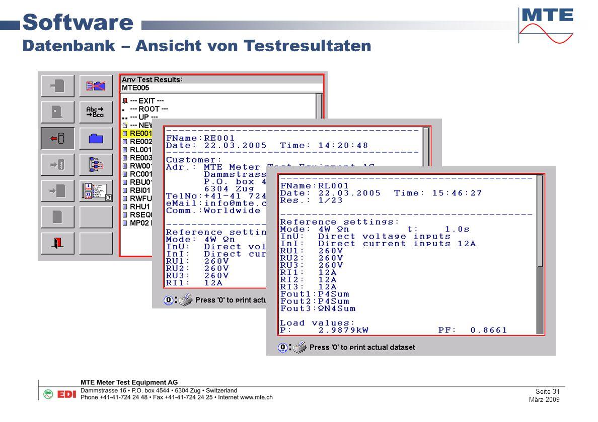 Software Datenbank – Ansicht von Testresultaten