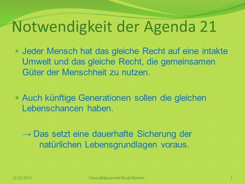 Notwendigkeit der Agenda 21