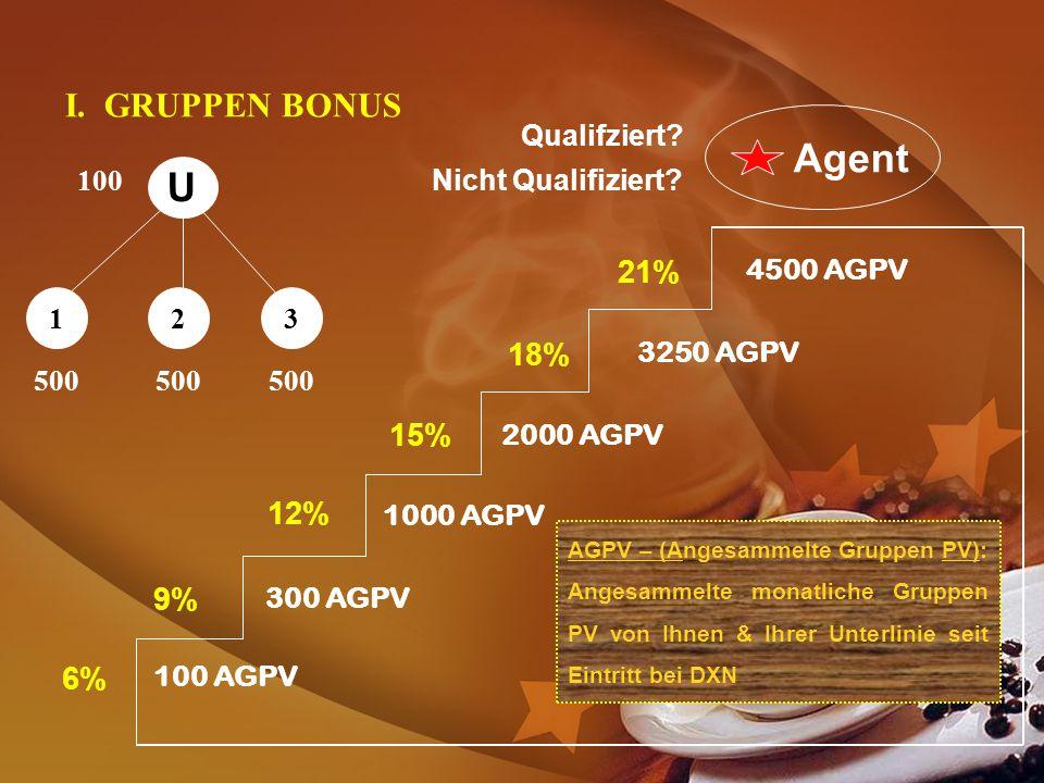 Agent U I. GRUPPEN BONUS 21% 18% 15% 12% 9% 6% Qualifziert 100