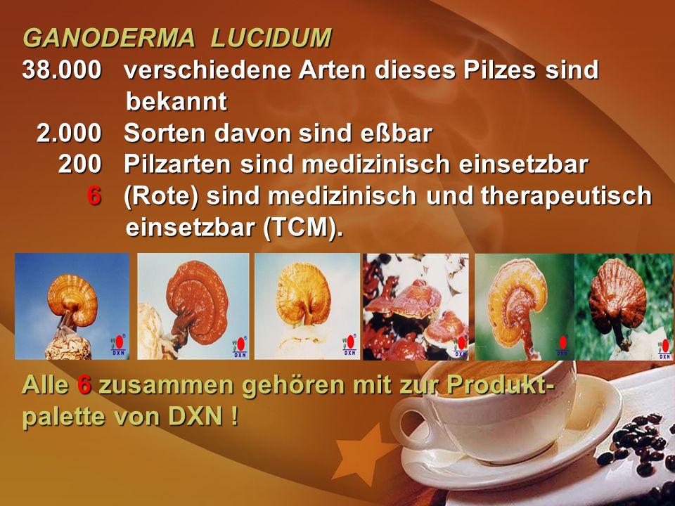GANODERMA LUCIDUM 38.000 verschiedene Arten dieses Pilzes sind bekannt. 2.000 Sorten davon sind eßbar.