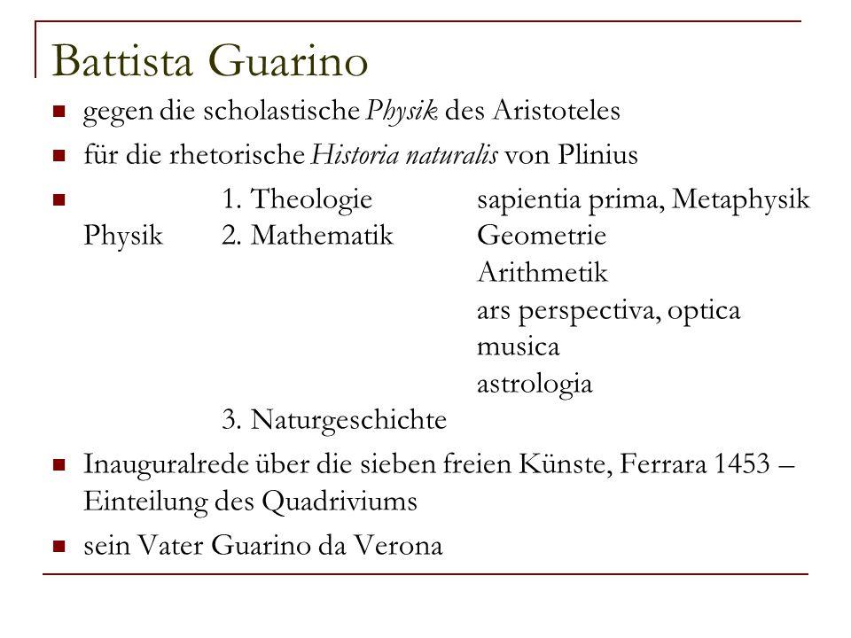 Battista Guarino gegen die scholastische Physik des Aristoteles