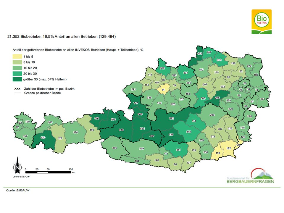 Verteilung der Bio-Betriebe nach politischen Bezirken 2012