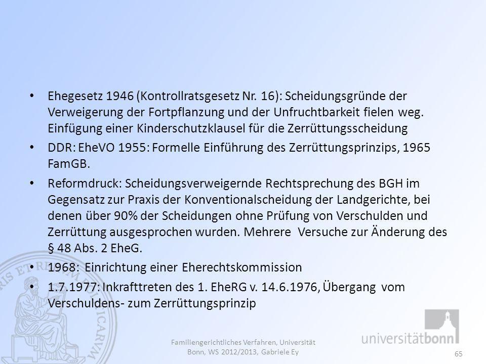 1968: Einrichtung einer Eherechtskommission
