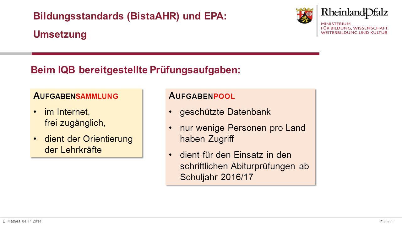 Bildungsstandards (BistaAHR) und EPA: Umsetzung