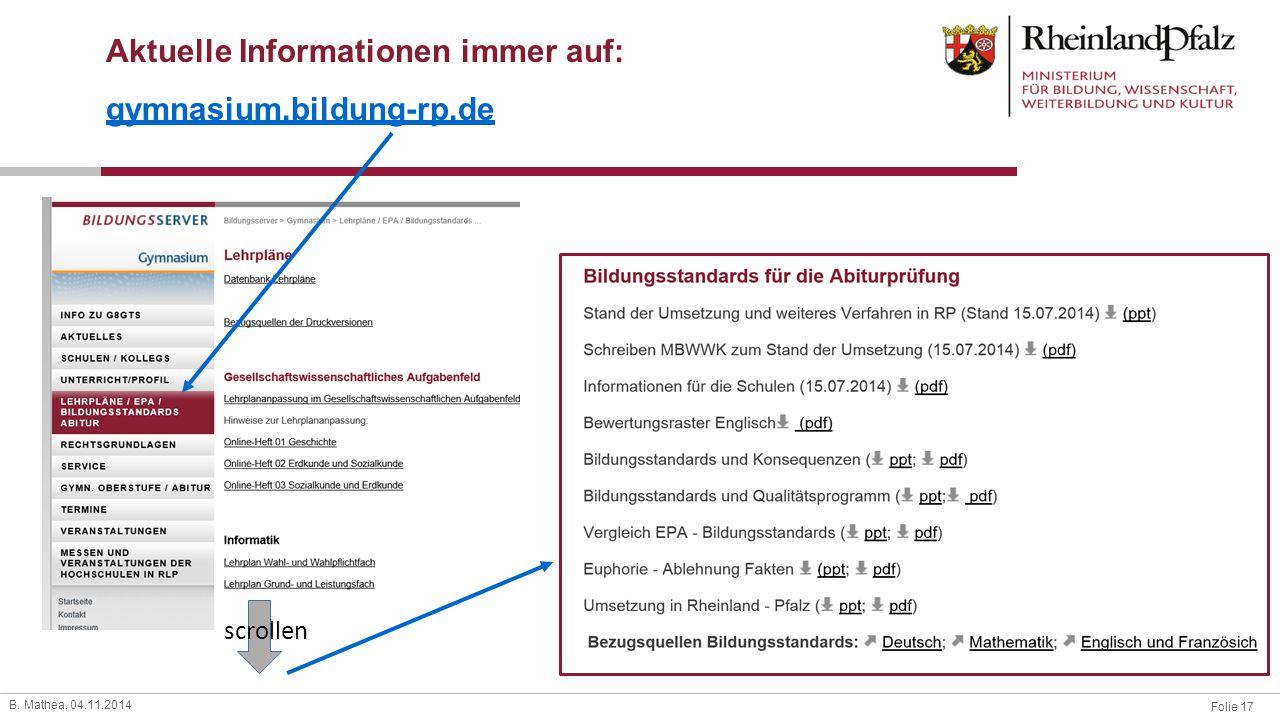 Aktuelle Informationen immer auf: gymnasium.bildung-rp.de