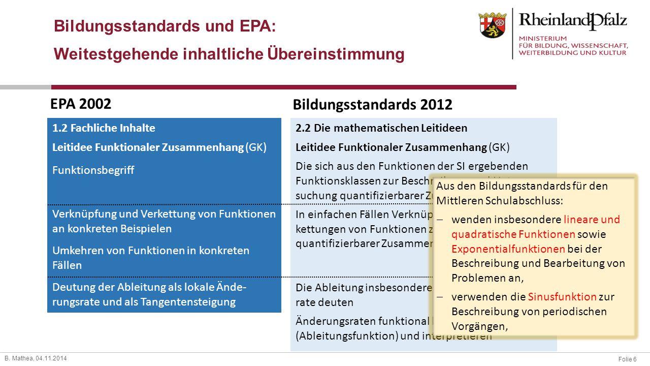 Bildungsstandards und EPA: Weitestgehende inhaltliche Übereinstimmung