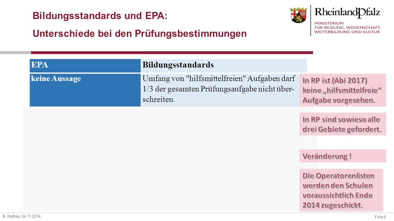 Bildungsstandards und EPA: Unterschiede bei den Prüfungsbestimmungen