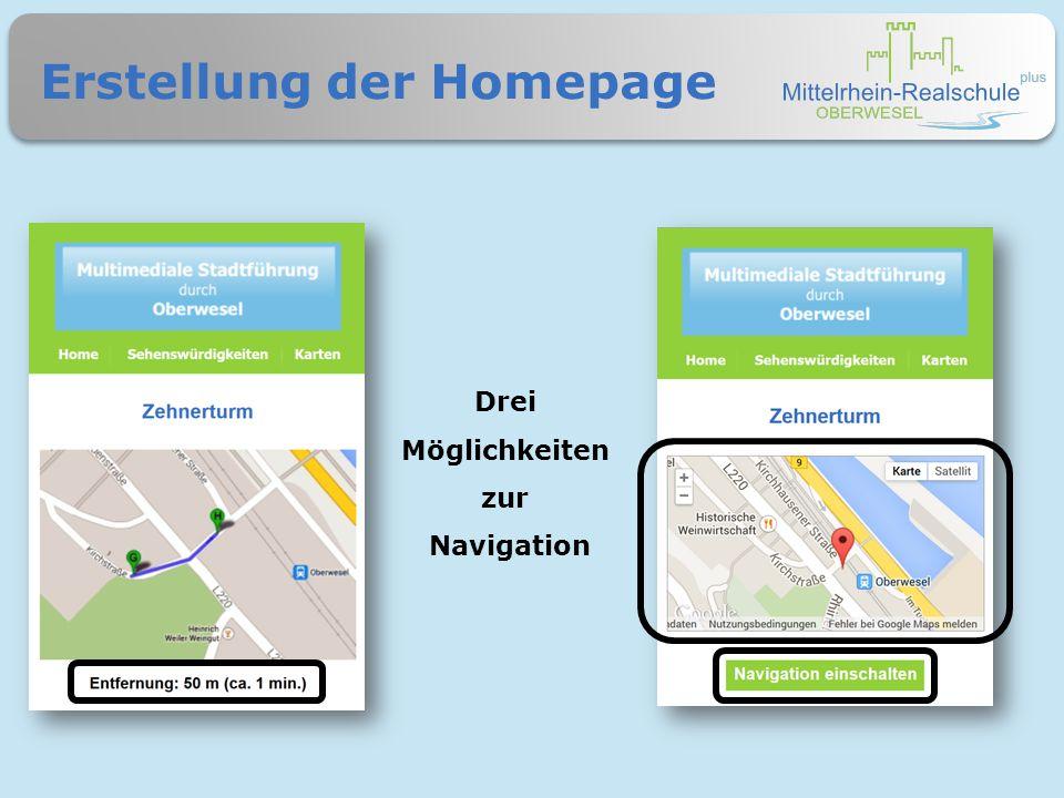 Erstellung der Homepage