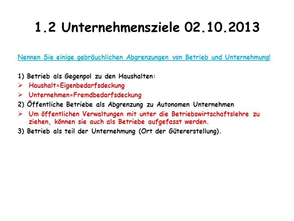 1.2 Unternehmensziele 02.10.2013 Nennen Sie einige gebräuchlichen Abgrenzungen von Betrieb und Unternehmung!