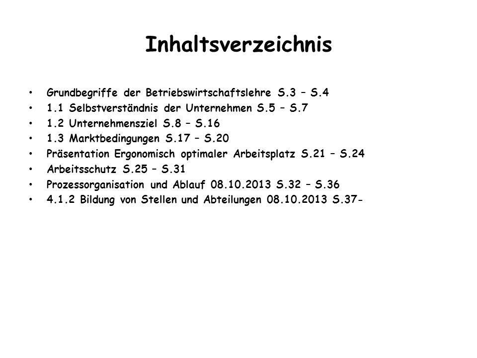 Inhaltsverzeichnis Grundbegriffe der Betriebswirtschaftslehre S.3 – S.4. 1.1 Selbstverständnis der Unternehmen S.5 – S.7.