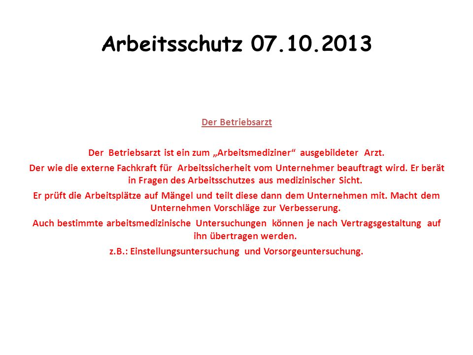 Arbeitsschutz 07.10.2013