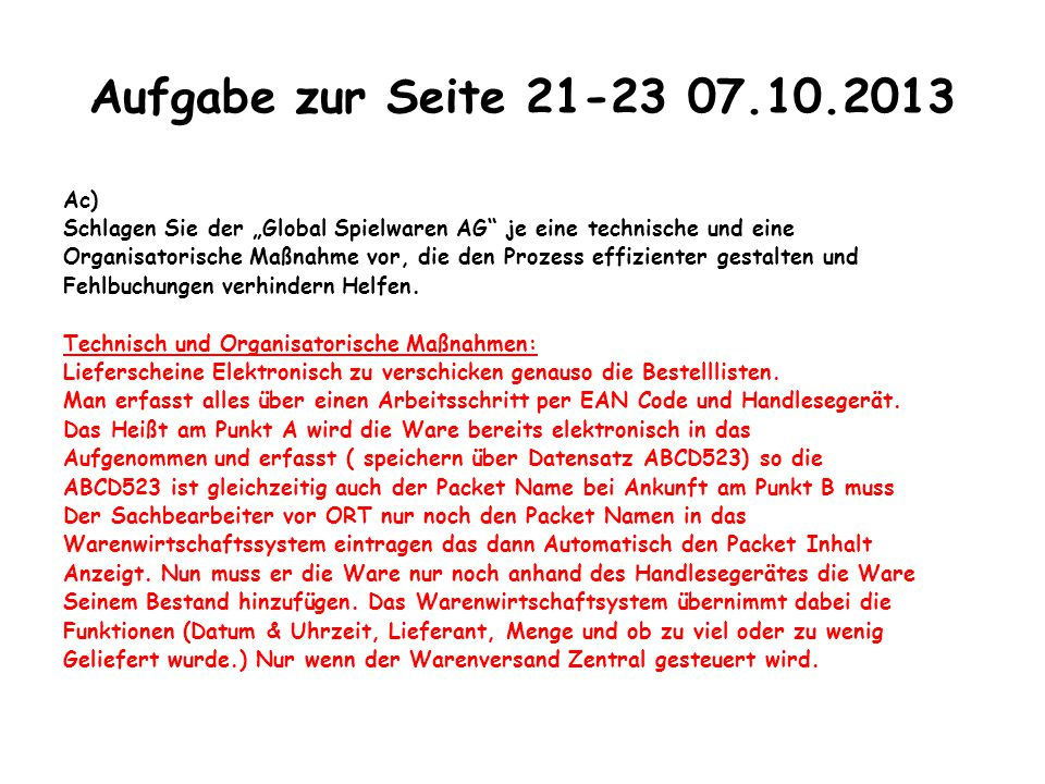Aufgabe zur Seite 21-23 07.10.2013