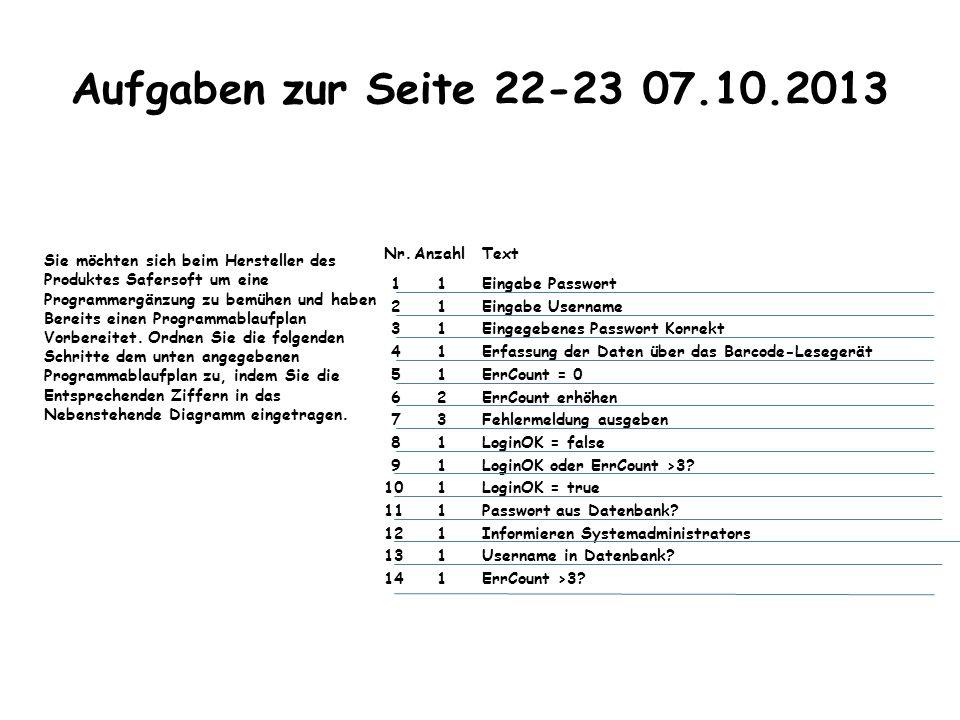 Aufgaben zur Seite 22-23 07.10.2013 Nr. Anzahl Text