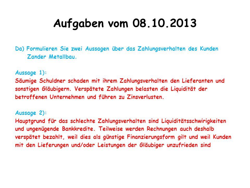 Aufgaben vom 08.10.2013