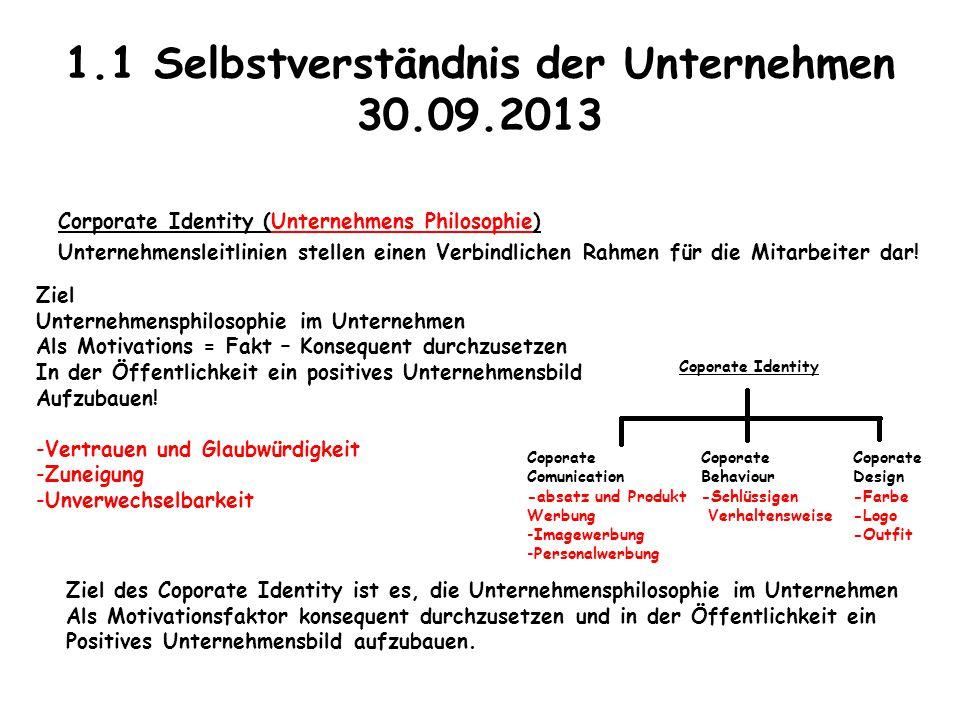 1.1 Selbstverständnis der Unternehmen 30.09.2013
