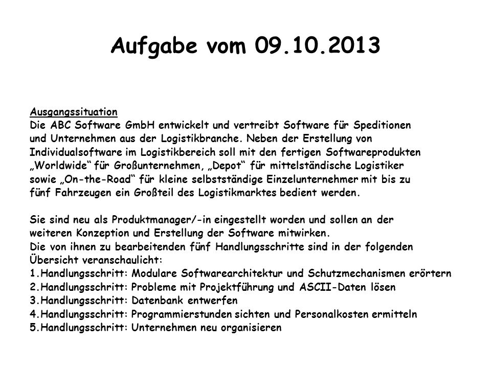 Aufgabe vom 09.10.2013