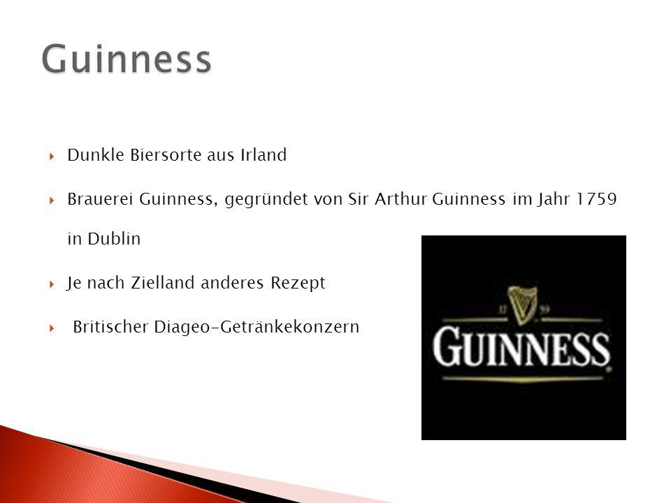 Guinness Dunkle Biersorte aus Irland