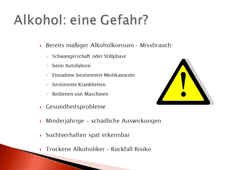 Alkohol: eine Gefahr Bereits mäßiger Alkoholkonsum – Missbrauch: