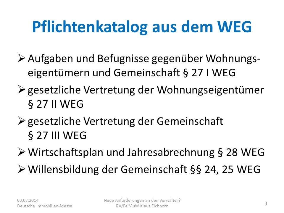 Pflichtenkatalog aus dem WEG
