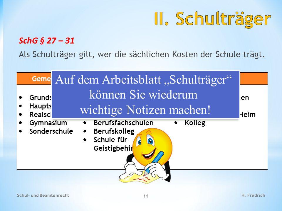 """II. Schulträger Auf dem Arbeitsblatt """"Schulträger können Sie wiederum"""