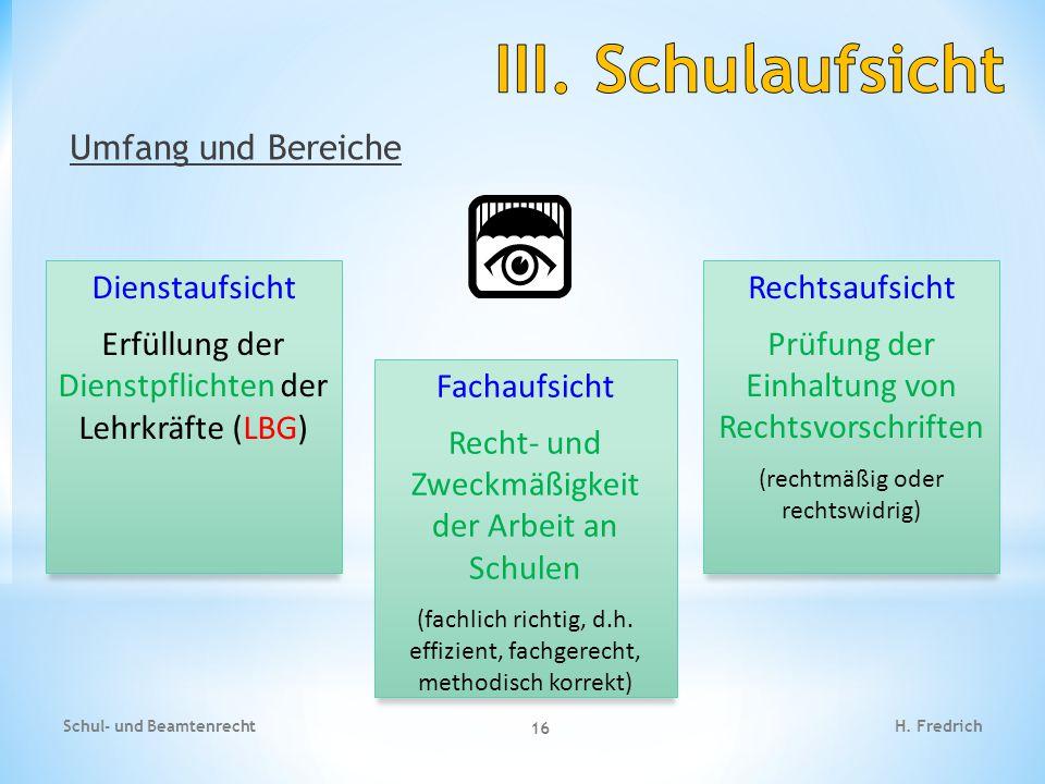 III. Schulaufsicht Umfang und Bereiche Dienstaufsicht