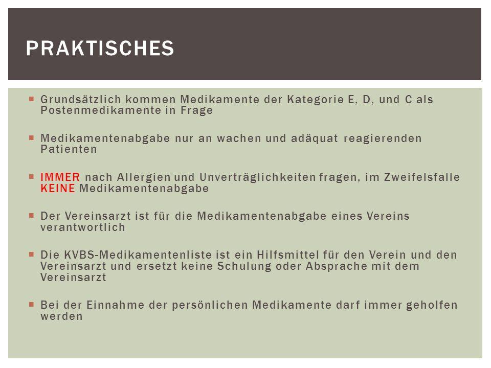 Praktisches Grundsätzlich kommen Medikamente der Kategorie E, D, und C als Postenmedikamente in Frage.