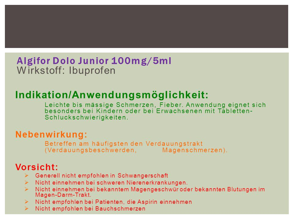 Algifor Dolo Junior 100mg/5ml Wirkstoff: Ibuprofen
