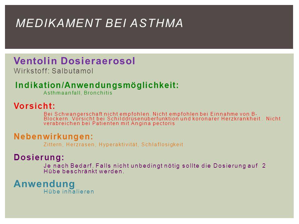 Medikament bei Asthma Ventolin Dosieraerosol Anwendung:
