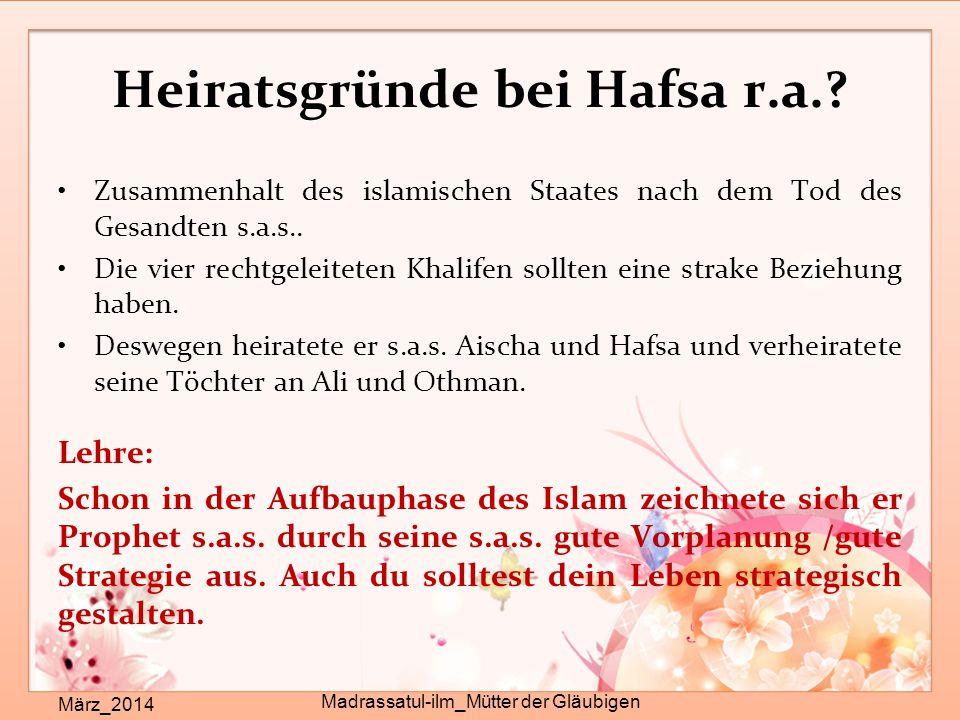 Heiratsgründe bei Hafsa r.a.