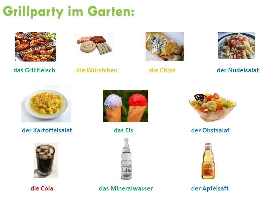 Grillparty im Garten: das Grillfleisch die Würstchen die Chips