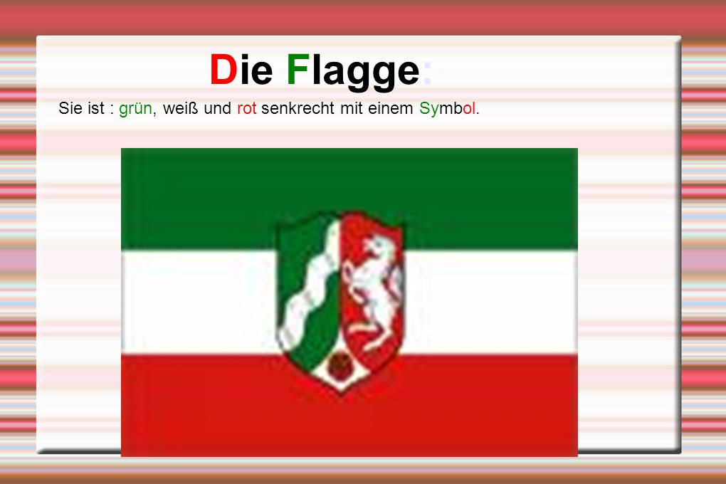 Die Flagge: Sie ist : grün, weiß und rot senkrecht mit einem Symbol.