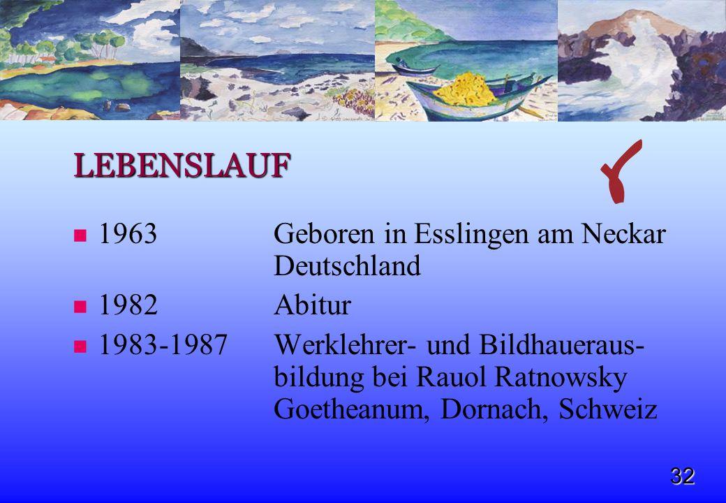 LEBENSLAUF 1963 Geboren in Esslingen am Neckar Deutschland 1982 Abitur
