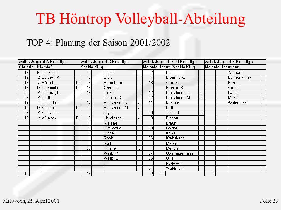 TOP 4: Planung der Saison 2001/2002