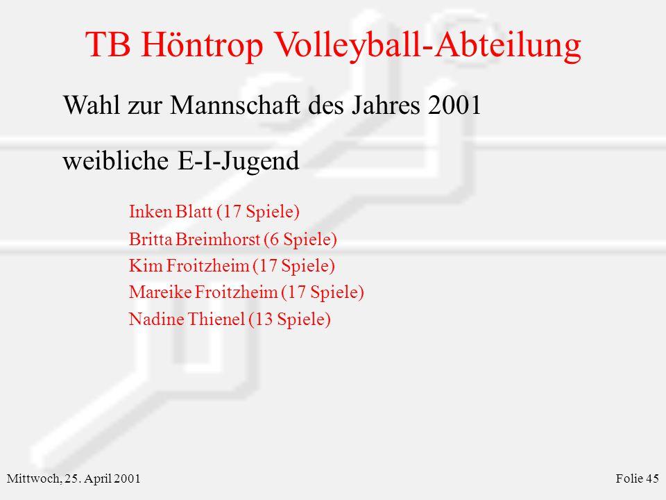 Wahl zur Mannschaft des Jahres 2001