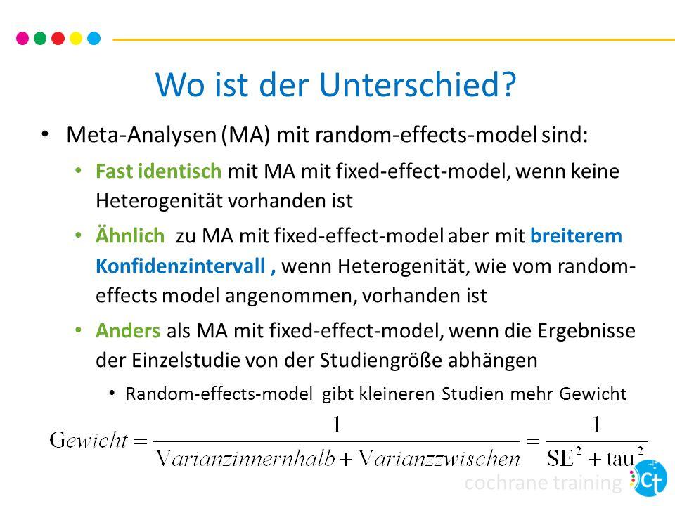 Wo ist der Unterschied Meta-Analysen (MA) mit random-effects-model sind: