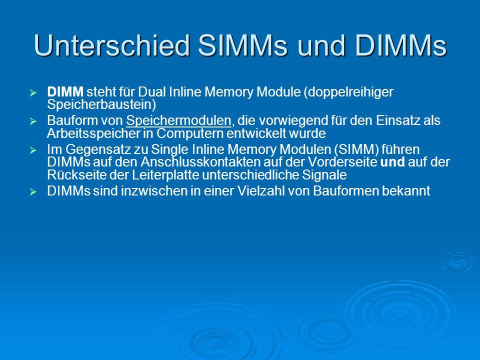 Unterschied SIMMs und DIMMs