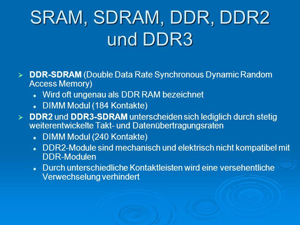 SRAM, SDRAM, DDR, DDR2 und DDR3