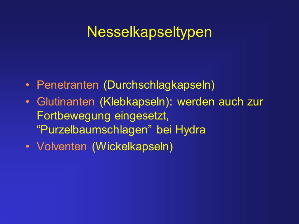 Nesselkapseltypen Penetranten (Durchschlagkapseln)