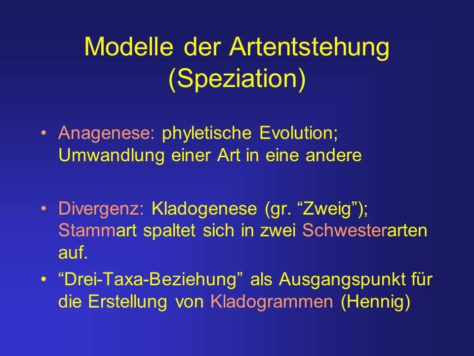 Modelle der Artentstehung (Speziation)