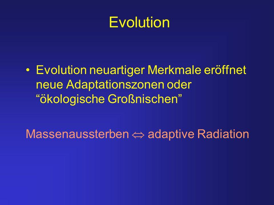 Evolution Evolution neuartiger Merkmale eröffnet neue Adaptationszonen oder ökologische Großnischen
