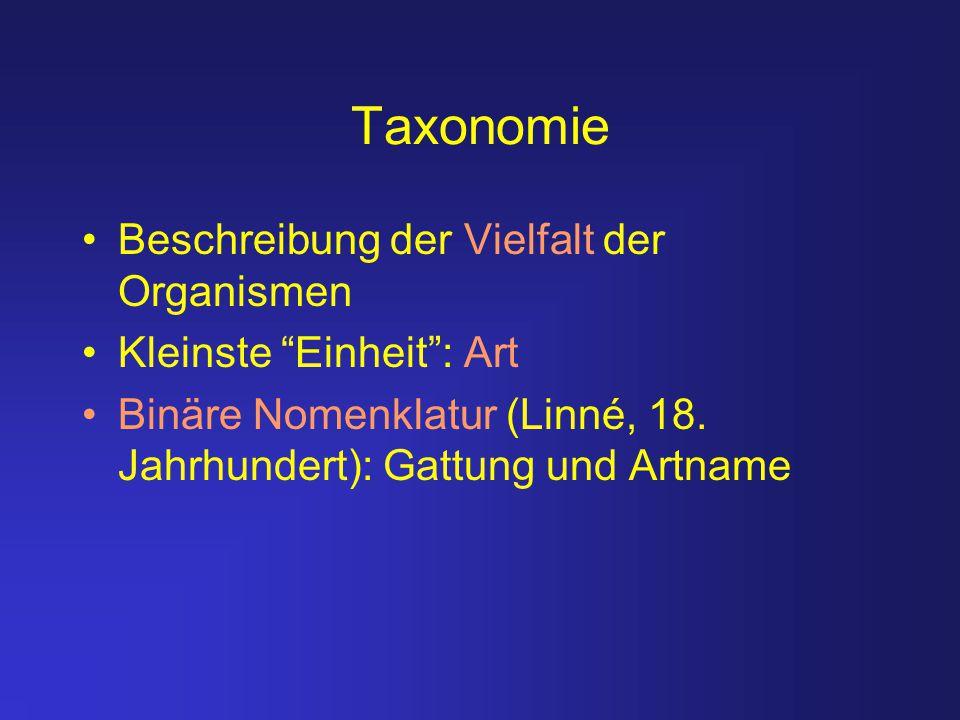 Taxonomie Beschreibung der Vielfalt der Organismen