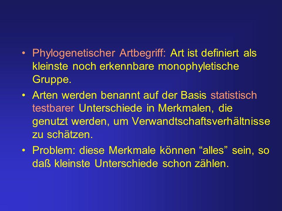 Phylogenetischer Artbegriff: Art ist definiert als kleinste noch erkennbare monophyletische Gruppe.