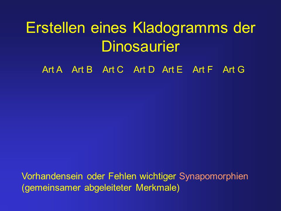 Erstellen eines Kladogramms der Dinosaurier