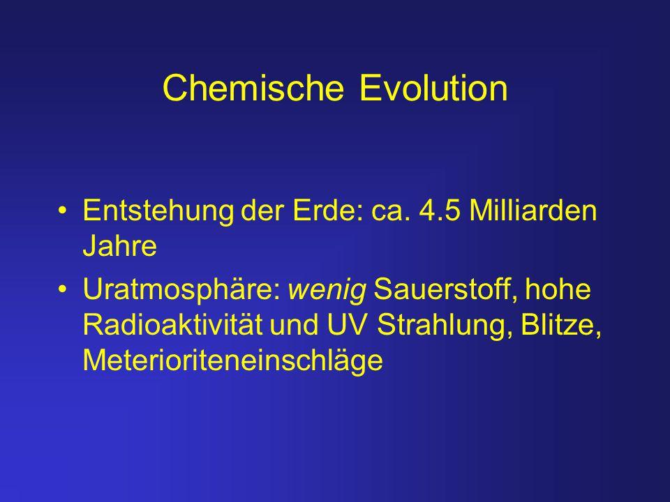 Chemische Evolution Entstehung der Erde: ca. 4.5 Milliarden Jahre